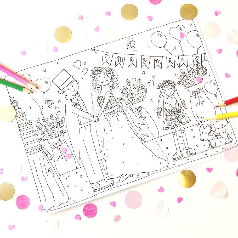 kleurplaat bruiloft gepersonaliseerd