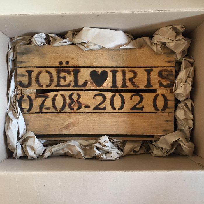 fruitkist bruiloft houten krat met tekst liefslabel