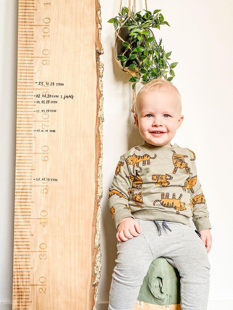 Liefslabel meetlat groeimeter boom boomstam Evin Knotters