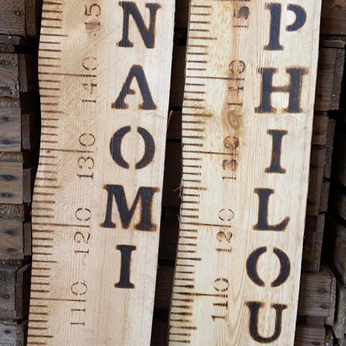 liefslabel houten meetlat vintage met naam