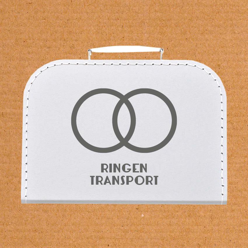 Koffer Ringentransport witte koffer met grijze letters